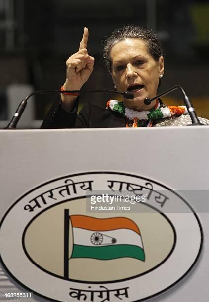 Congress President Sonia Gandhi during All India Congress Committee meet at Talkatora stadium on January 17 2014 in New Delhi India Rahul Gandhi said...