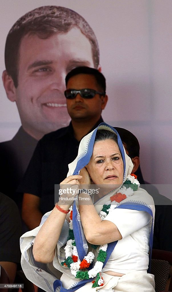 Congress President <a gi-track='captionPersonalityLinkClicked' href=/galleries/search?phrase=Sonia+Gandhi&family=editorial&specificpeople=2287581 ng-click='$event.stopPropagation()'>Sonia Gandhi</a> during the farmers rally (Kisan-Khet Mazdoor Rally) to galvanise protests against National Democratic Alliance's (NDA) land acquisition law at Ramlila Maidan on April 19, 2015 in New Delhi, India. Druing a rally, Rahul Gandhi said, 'I tell you how Modi ji won the election. He took loans of thousands of crores from big industrialists from which his marketing was done. How will he pay back that loan now? He will do it by giving your land to those top industrialists. He wants to weaken the farmers, then snatch their land and give it to his industrialist friends.' <a gi-track='captionPersonalityLinkClicked' href=/galleries/search?phrase=Sonia+Gandhi&family=editorial&specificpeople=2287581 ng-click='$event.stopPropagation()'>Sonia Gandhi</a> said that the voice of India's farming community can never be silenced or suppressed, and any attempt to do so, would be countered with all the power at her command. She accused the Modi government of adding insult to the injury of farmers by bringing the land ordinance.