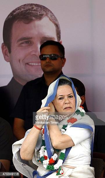 Congress President Sonia Gandhi during the farmers rally to galvanise protests against National Democratic Alliance's land acquisition law at Ramlila...