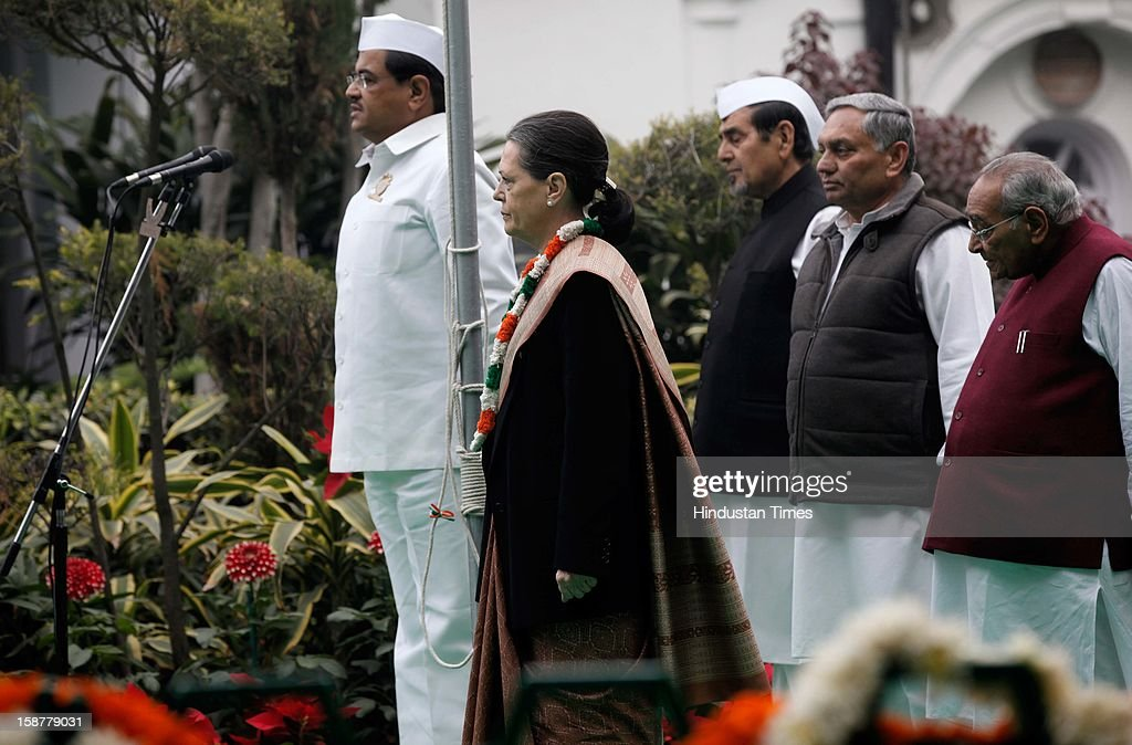 Congress president Sonia Gandhi during the Indian National Congress party's 127th foundation day function at AICC headquarters on December 28, 2012 in New Delhi, India.