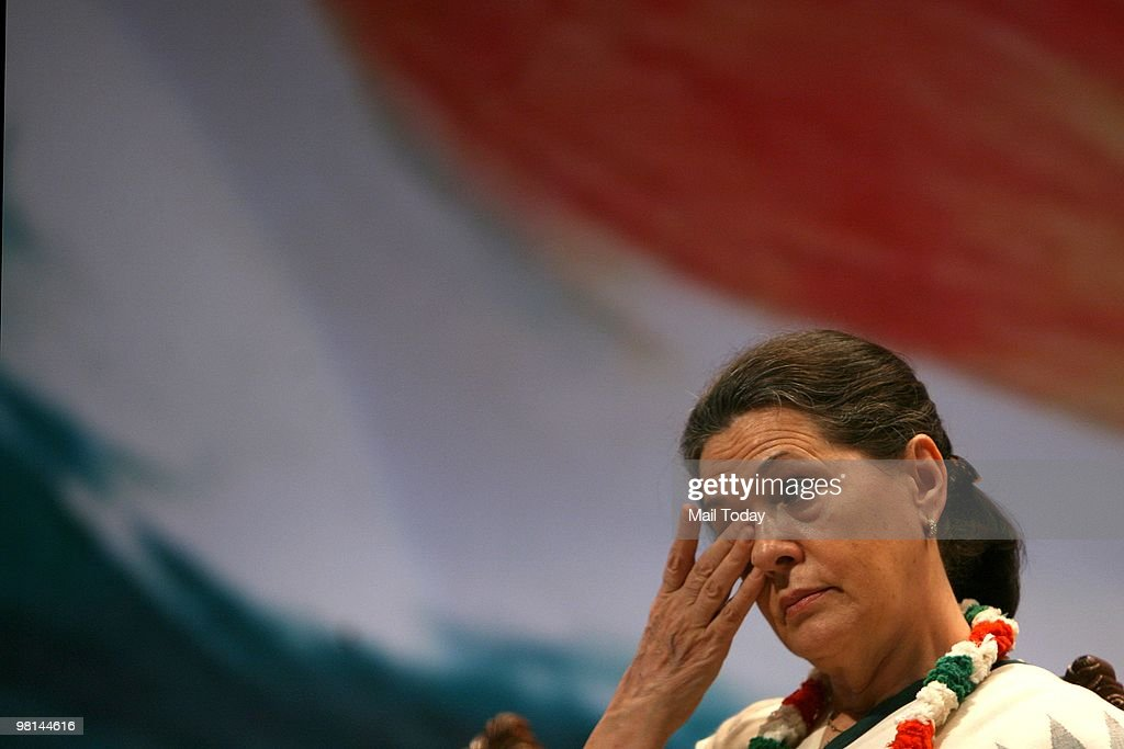 Congress President <a gi-track='captionPersonalityLinkClicked' href=/galleries/search?phrase=Sonia+Gandhi&family=editorial&specificpeople=2287581 ng-click='$event.stopPropagation()'>Sonia Gandhi</a> during the National Covention of Congress Seva Dal in New Delhi on March 29, 2010.