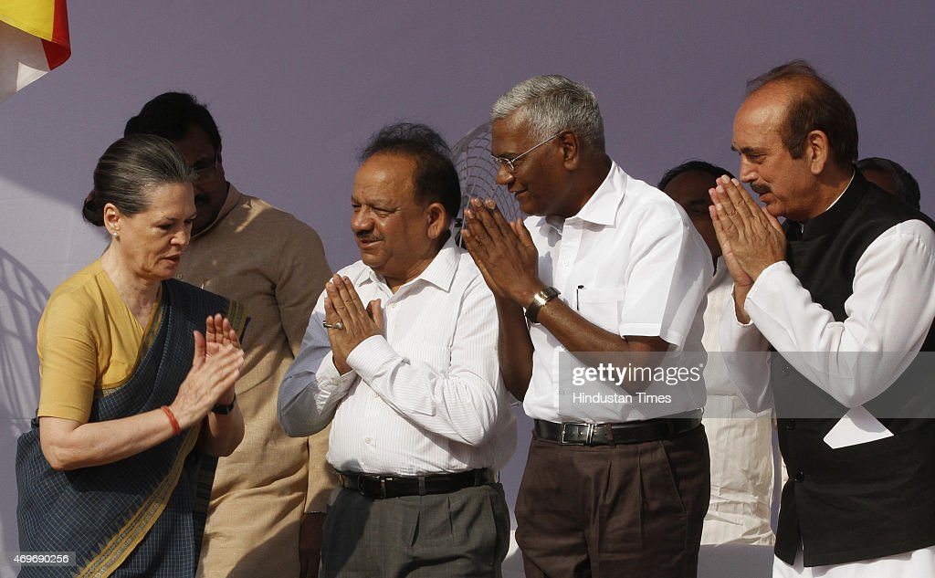 Congress President <a gi-track='captionPersonalityLinkClicked' href=/galleries/search?phrase=Sonia+Gandhi&family=editorial&specificpeople=2287581 ng-click='$event.stopPropagation()'>Sonia Gandhi</a> exchanges greetings with Union Minister Harshvardhan, CPI leader D Raja and Congress leader <a gi-track='captionPersonalityLinkClicked' href=/galleries/search?phrase=Ghulam+Nabi+Azad&family=editorial&specificpeople=772783 ng-click='$event.stopPropagation()'>Ghulam Nabi Azad</a> at a function to pay tribute to Dr BR Ambedkar on his birth anniversary at Parliament Street on April 14, 2015 in New Delhi, India. Bhimrao Ramji Ambedkar popularly known as Babasaheb, was an Indian jurist, economist, politician and social reformer. He served as Independent India's first law minister and the principal architect of the Constitution of India. Many parties and organizations are organizing nationwide programmes to celebrate the 124th birth anniversary of the Dalit icon.