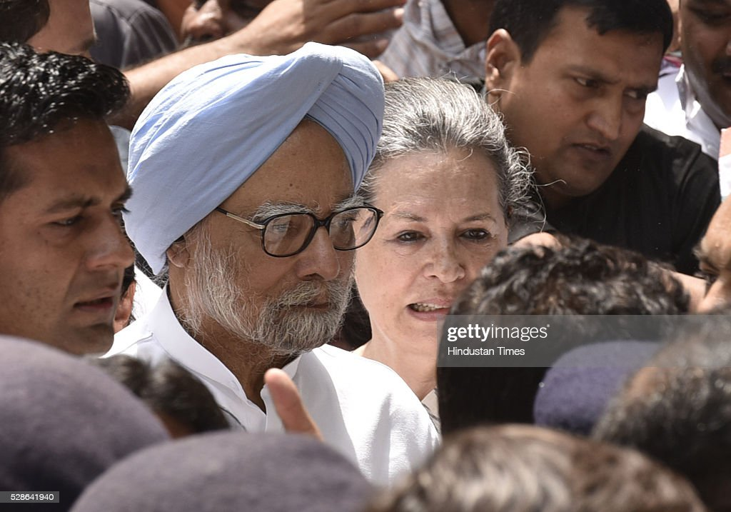 Congress President Sonia Gandhi, former Prime Minister Manmohan Singh and other Congress leaders during the Save Democracy march from Jantar Mantar to Parliament Streeton May 6, 2016 in New Delhi, India. The protest march called to highlight what the Congress party terms as Modis attack on democracy saw thousands of party workers gather at Jantar Mantar, the countrys protest capital. Congress president Sonia Gandhi, party vice-president Rahul Gandhi and former prime minister Manmohan Singh were briefly arrested and then released at the Parliament Street police station.