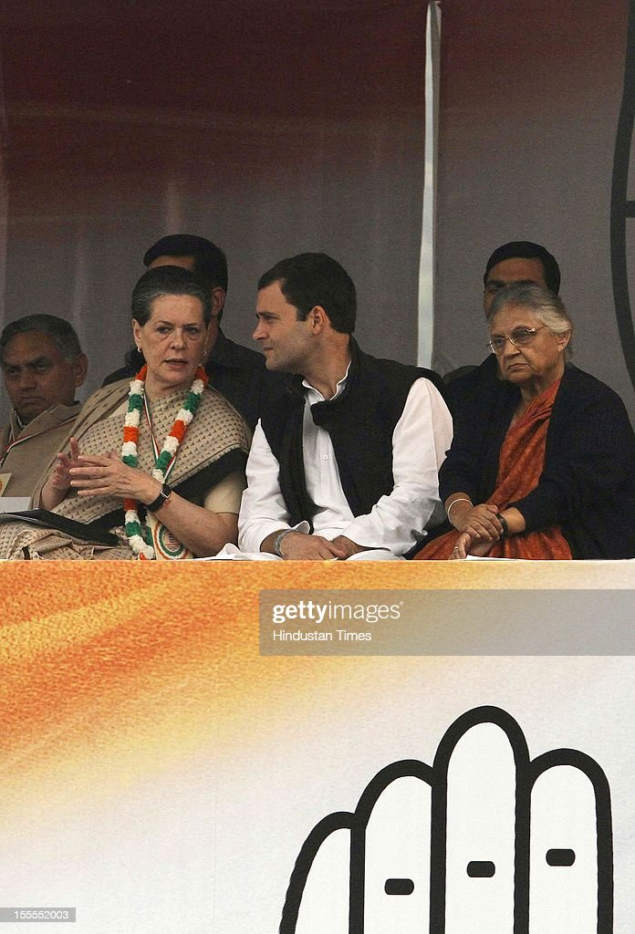 Congress President <a gi-track='captionPersonalityLinkClicked' href=/galleries/search?phrase=Sonia+Gandhi&family=editorial&specificpeople=2287581 ng-click='$event.stopPropagation()'>Sonia Gandhi</a>, General Secretary <a gi-track='captionPersonalityLinkClicked' href=/galleries/search?phrase=Rahul+Gandhi&family=editorial&specificpeople=171802 ng-click='$event.stopPropagation()'>Rahul Gandhi</a>, Delhi CM Sheila Dikshit during the party's Maharally at Ramlila Maidan on November 04, 2012 in New Delhi, India. The rally is expected to set the agenda for the party's one-day brainstorming session at Surajkund on November 9 in which it plans to discuss the current political and economic situation.