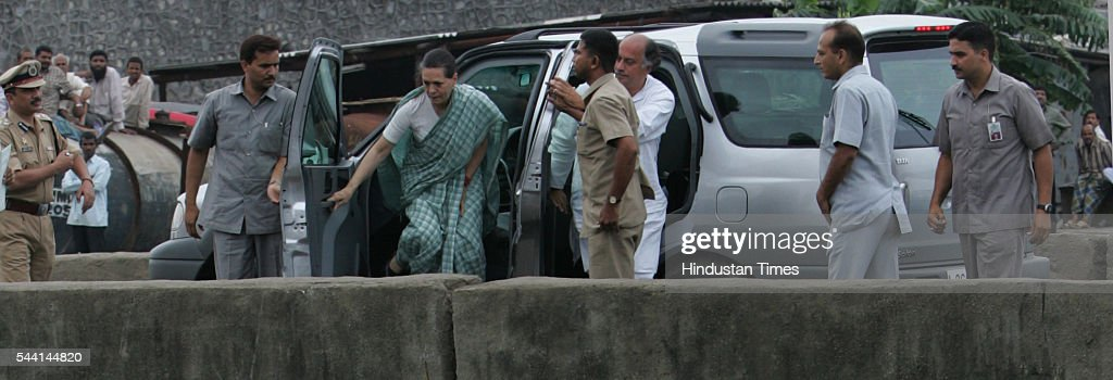 Congress president Sonia Gandhi getting off from her car at Mithi Pool, Kurla to see Mithi Rivers condition which caused flood during last month's heavy rain.