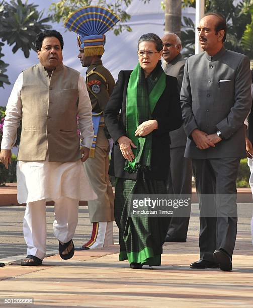Congress President Sonia Gandhi leaders Ghulam Nabi Azad and Rajeev Shukla during a ceremony to pay homage on the 14th Parliament attack anniversary...