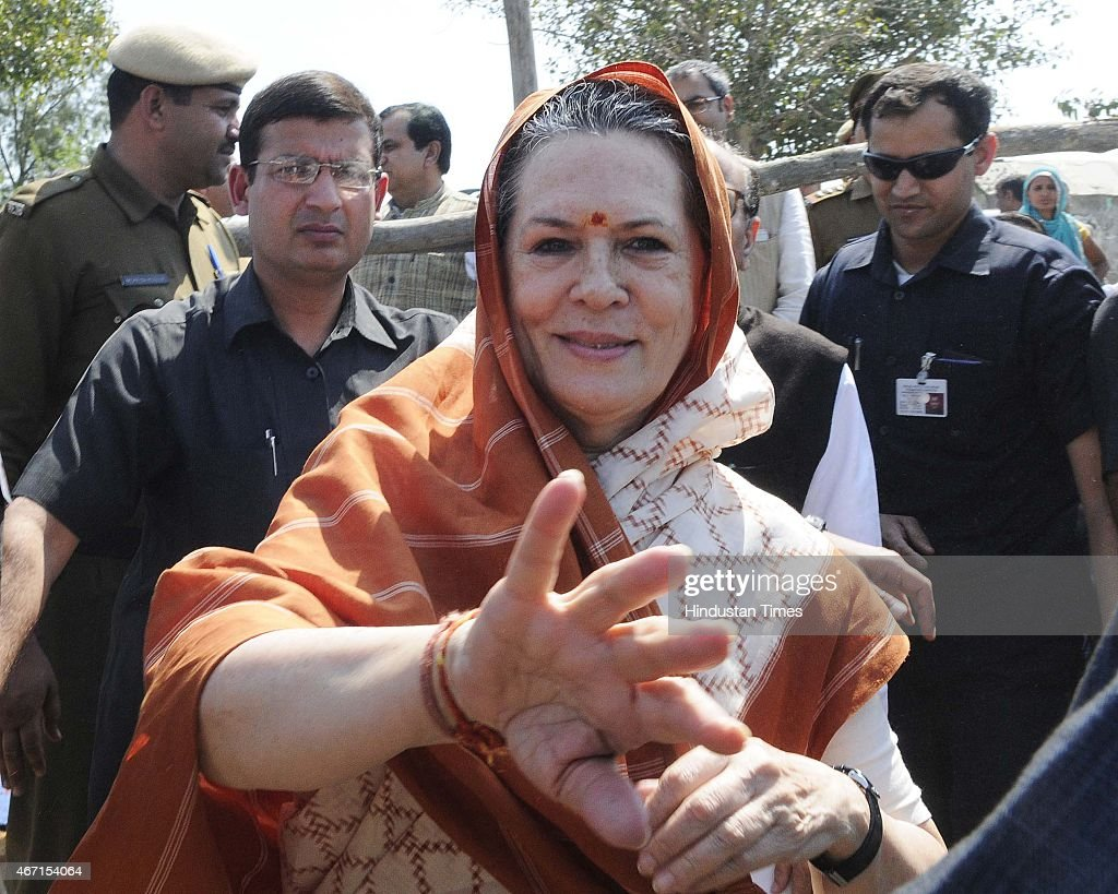 Congress President <a gi-track='captionPersonalityLinkClicked' href=/galleries/search?phrase=Sonia+Gandhi&family=editorial&specificpeople=2287581 ng-click='$event.stopPropagation()'>Sonia Gandhi</a> meets with farmers during her visit at Rattanthal village, Haryana, on March 21, 2015 in Rewari, India. <a gi-track='captionPersonalityLinkClicked' href=/galleries/search?phrase=Sonia+Gandhi&family=editorial&specificpeople=2287581 ng-click='$event.stopPropagation()'>Sonia Gandhi</a> visited several villages in Rohtak district including Gurwara, Surakhpur, Jakkhala Road, Gudiani, Mubarikpur Chowk and Rattanthal. She appealed to the Haryana government to assist the rain-affected farmers whose crops have been destroyed by the recent heavy rainfall in Northern India.