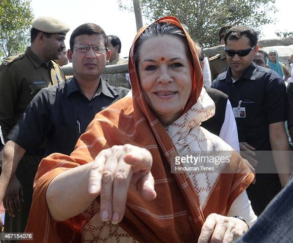 Congress President Sonia Gandhi meets with farmers during her visit at Rattanthal village Haryana on March 21 2015 in Rewari India Sonia Gandhi...