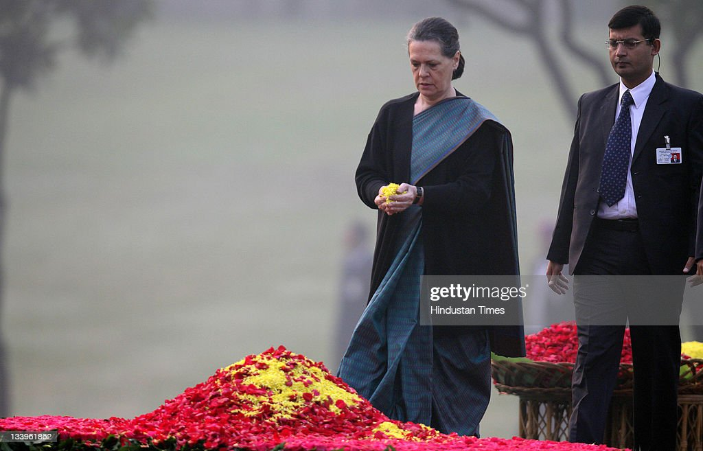 Congress President <a gi-track='captionPersonalityLinkClicked' href=/galleries/search?phrase=Sonia+Gandhi&family=editorial&specificpeople=2287581 ng-click='$event.stopPropagation()'>Sonia Gandhi</a> paying tributes to Indira Gandhi on her 94th birth anniversary at her memorial Shakti Sthal on November 19, 2011 in New Delhi, India..