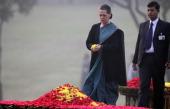 Congress President Sonia Gandhi paying tributes to Indira Gandhi on her 94th birth anniversary at her memorial Shakti Sthal on November 19 2011 in...