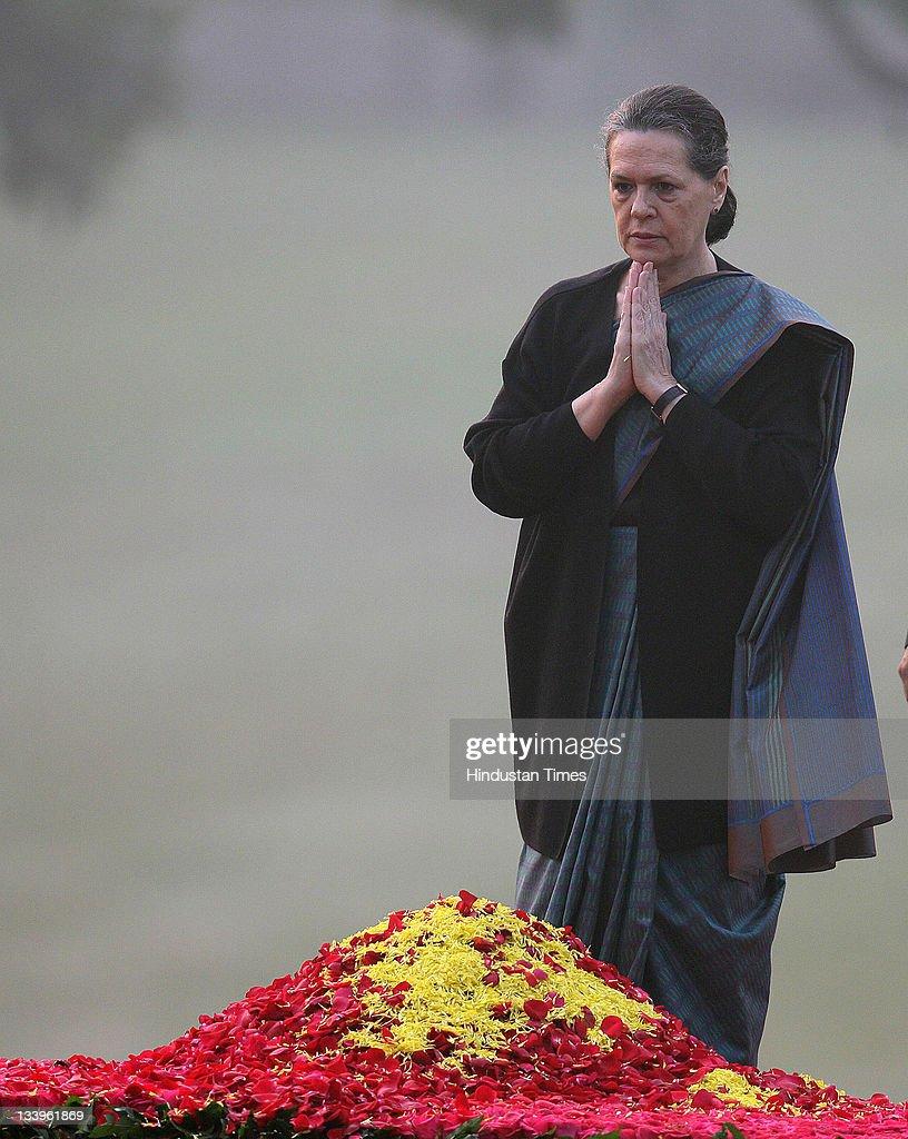 Congress President Sonia Gandhi paying tributes to Indira Gandhi on her 94th birth anniversary at her memorial Shakti Sthal on November 19, 2011 in New Delhi, India..