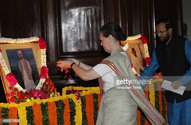 Congress president Sonia Gandhi pays tribute to Mahatma Gandhi and Lal Bahadur Shastri on their birth anniversary at Parliament House on October 2...
