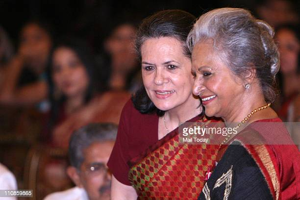 Congress President Sonia Gandhi pose with veteran actress Waheeda Rehman during Padma Awards 2011 ceremony at the Rashtrapati Bhavan in New Delhi on...