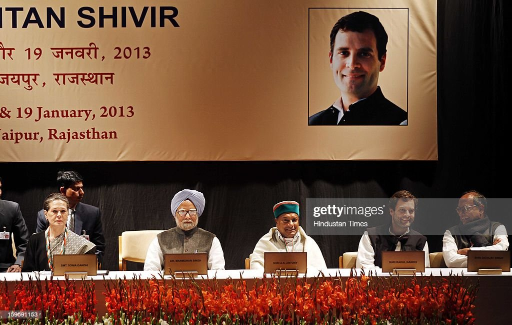 Congress President Sonia Gandhi, Prime Minister Manmohan Singh, Congress leader Rahul Gandhi, Defence Minister A K Antony, Digvijay Singh during the Chintan Shivir at Birla Auditorium, Jaipur on January 18, 2013 in Rajasthan, India. The Congress' brain-storming session began in Jaipur today and the focus is on the 2014 elections and Rahul Gandhi's role in leading the party in the battle. The ruling party hopes to emerge from the two-day-long session armed with strategy on, among other things, how to reconnect with an angry urban middle class.