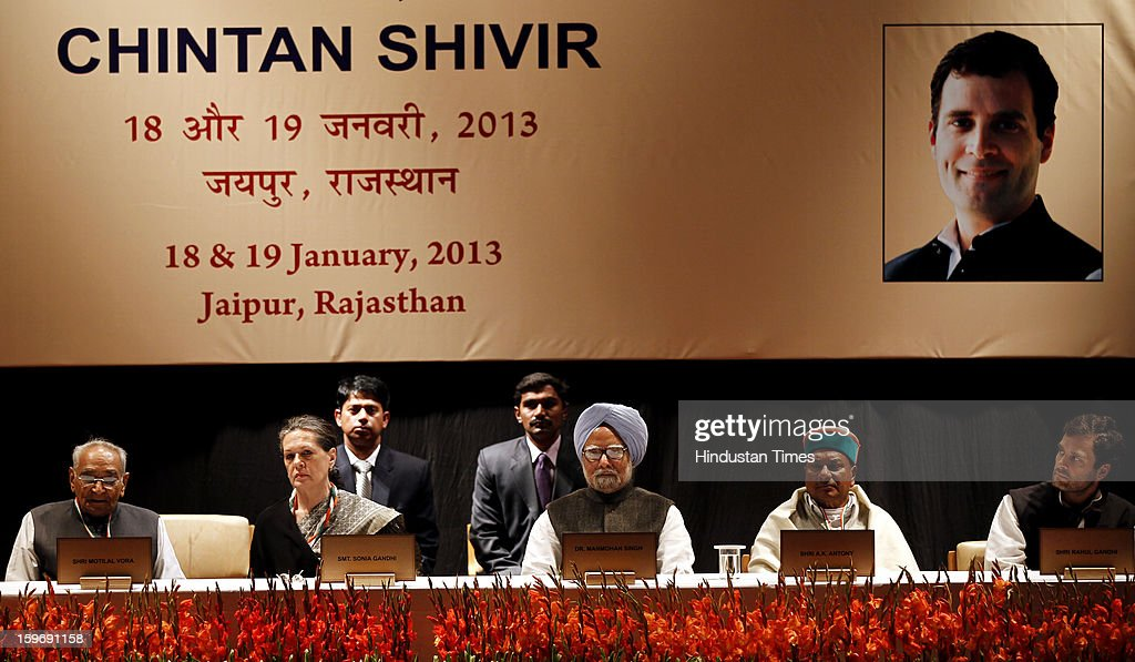 Congress President Sonia Gandhi, Prime Minister Manmohan Singh, Congress leader Rahul Gandhi, Defence Minister A K Antony and Motilal Vohra during the Chintan Shivir at Birla Auditorium, Jaipur on January 18, 2013 in Rajasthan, India. The Congress' brain-storming session began in Jaipur today and the focus is on the 2014 elections and Rahul Gandhi's role in leading the party in the battle. The ruling party hopes to emerge from the two-day-long session armed with strategy on, among other things, how to reconnect with an angry urban middle class.