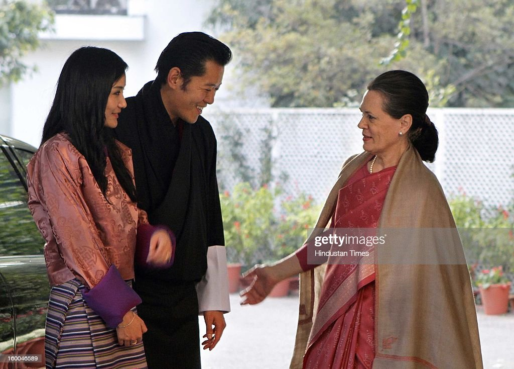 Congress President Sonia Gandhi with King of Bhutan, Jigme Khesar Namgyel Wangchuck and Queen Jetsun Pema during a meeting at Sonia Gandhi's residence on January 25, 2013 in New Delhi, India.