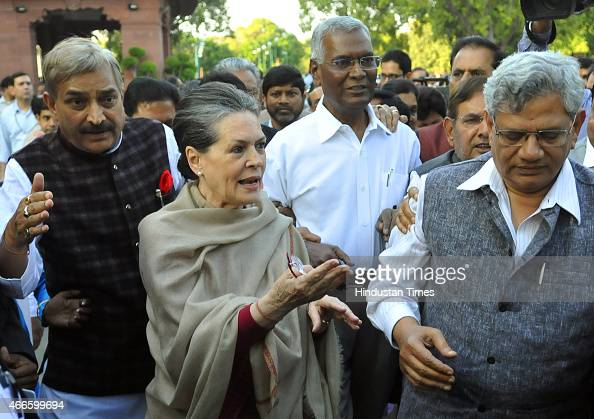 Congress President Sonia Gandhi with Left parties leaders D Raja Sitaram Yechury and others during joint march by opposition parties from Parliament...