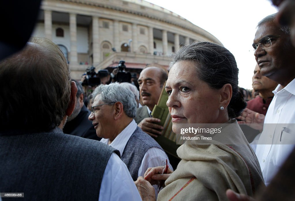 Congress President <a gi-track='captionPersonalityLinkClicked' href=/galleries/search?phrase=Sonia+Gandhi&family=editorial&specificpeople=2287581 ng-click='$event.stopPropagation()'>Sonia Gandhi</a> with other opposition leaders during joint march by opposition parties from Parliament to Rashtrapati Bhavan against the Land Acquisition bill on March 17, 2015 in New Delhi, India. In December, the government passed an urgent executive order to make it easier to buy land. The government needs lawmakers in both houses of parliament to pass the bill before the end of this parliamentary session in May to prevent the order lapsing.