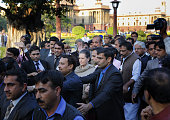Congress President Sonia Gandhi with other opposition leaders during joint march by opposition parties from Parliament to Rashtrapati Bhavan against...