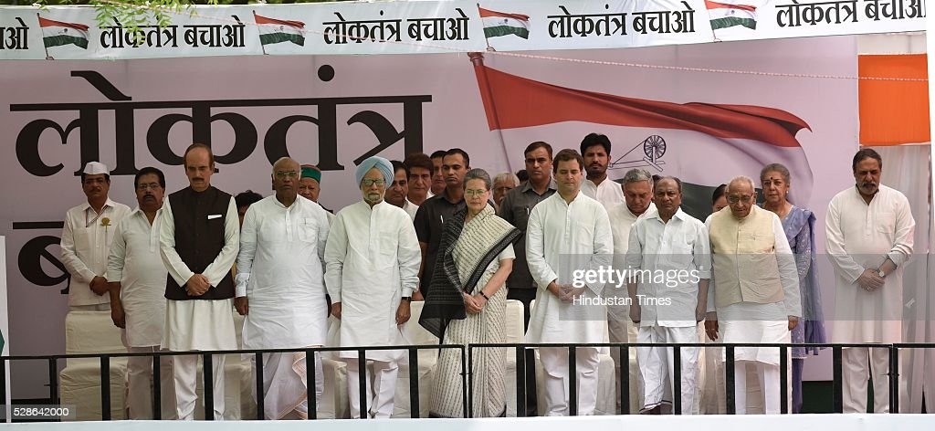 Congress president Sonia Gandhi with senior leaders on the stage during congress party march from Jantar Mantar to Parliament on May 6, 2016 in New Delhi, India. The protest march called to highlight what the Congress party terms as Modis attack on democracy saw thousands of party workers gather at Jantar Mantar, the countrys protest capital. Congress president Sonia Gandhi, party vice-president Rahul Gandhi and former prime minister Manmohan Singh were briefly arrested and then released at the Parliament Street police station.