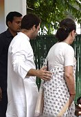 Congress president Sonia Gandhi with Vice president Rahul Gandhi after flag off a threeday bus yatra to Uttar Pradesh formally launching the partys...