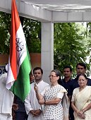 Congress president Sonia Gandhi with Vice president Rahul Gandhi flag off a threeday bus yatra to Uttar Pradesh formally launching the partys...