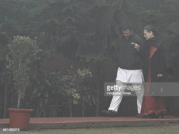Congress President Sonia Gandhi with Vice President Rahul Gandhi arrive for CWC meeting at AICC HQ on January 13 2015 in New Delhi India The Congress...