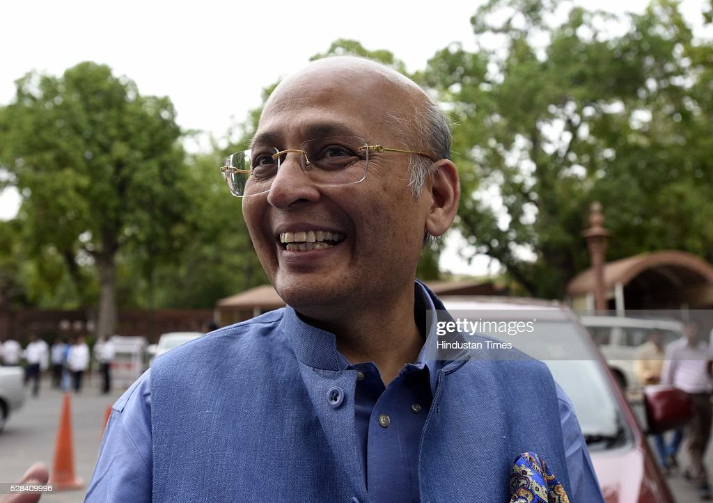 Congress Rajya Sabha MP Abhishek Manu Singhvi during the Parliament session on May 4, 2016 in New Delhi, India. Congress walks out of the House demanding time-bound Supreme Court-monitored CBI probe on the AgustaWestland helicopter deal.