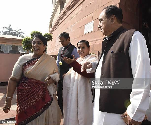 Congress Rajya Sabha MP Renuka Chaudhary Minister of Water Resources Uma Bharti BJP Rajya Sabha MP Dr Subramanian Swamy after attending the...