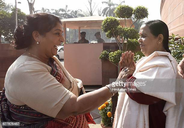 Congress Rajya Sabha MP Renuka Chaudhary Minister of Water Resources Uma Bharti after attending the Parliament Winter Session on December 5 2016 in...