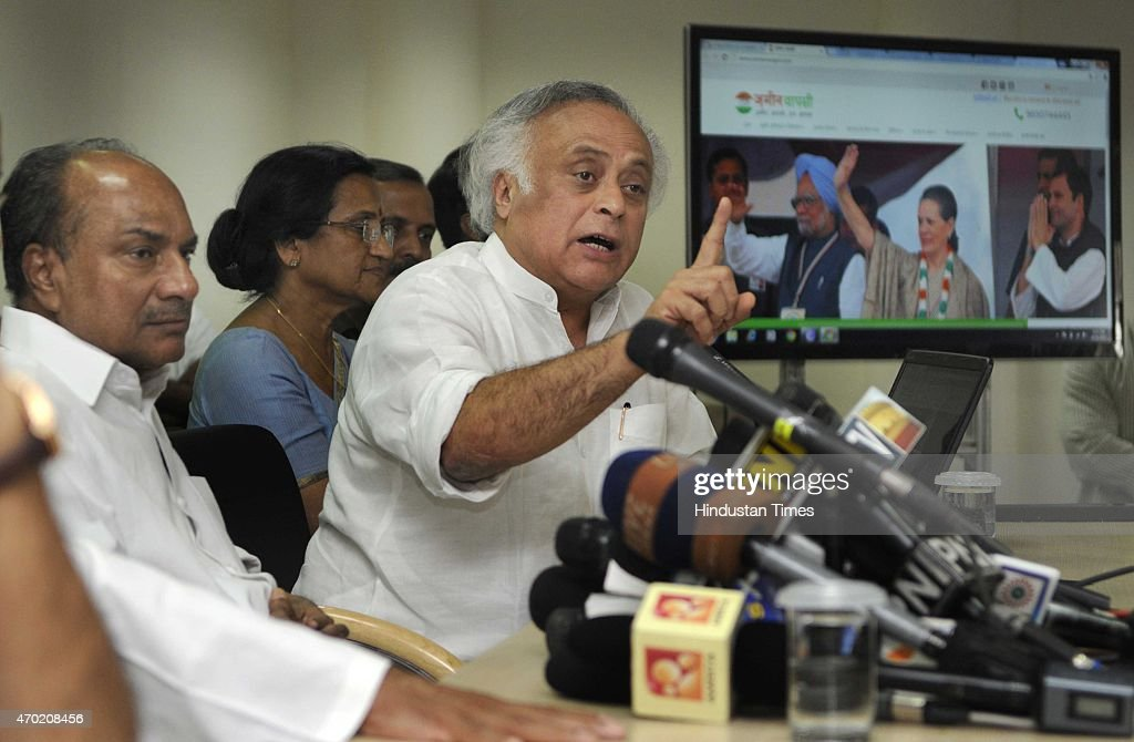 Congress senior leader <a gi-track='captionPersonalityLinkClicked' href=/galleries/search?phrase=Jairam+Ramesh&family=editorial&specificpeople=580333 ng-click='$event.stopPropagation()'>Jairam Ramesh</a>, with former Defence Minister A. K. Antony talking with media persons after launching the Zameenwapsi.com website that will provide misinformation on Land Bill and addressing a press conference on Kisan-Khet Mazdoor Rally at AICC HQ on April 18, 2015 in New Delhi, India. <a gi-track='captionPersonalityLinkClicked' href=/galleries/search?phrase=Jairam+Ramesh&family=editorial&specificpeople=580333 ng-click='$event.stopPropagation()'>Jairam Ramesh</a> said his party was not opposing the Land bill for the sake of being an opposition and that the issue was just not a political one. He said, 'This website will constantly get updated. It will provide information about land acquisition through a single click.'
