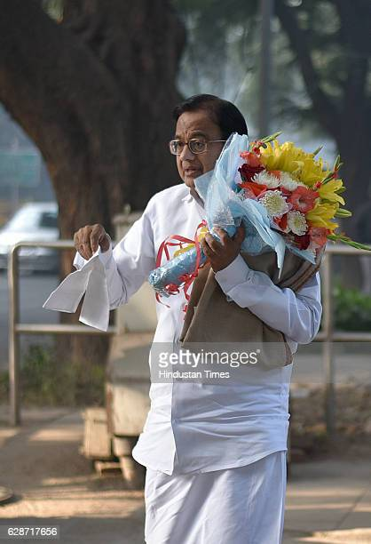 Congress senior leader P Chidambaram arrives at residence of Congress President Sonia Gandhi to wish on her 70th birthday on December 9 2016 in New...