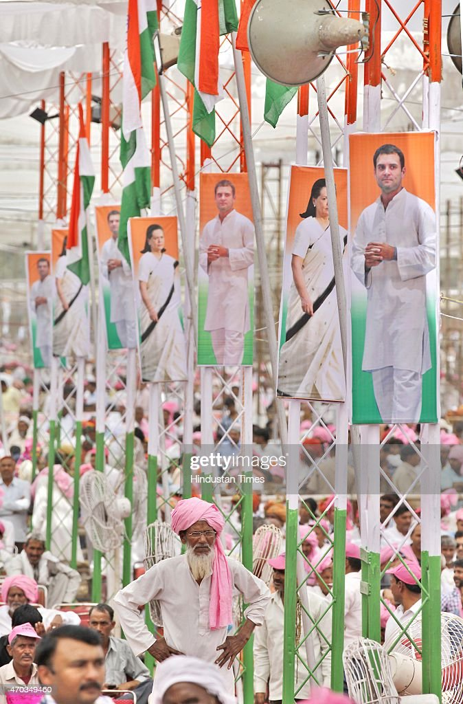 Congress supporters and farmers from all over the country during the farmers rally (Kisan-Khet Mazdoor Rally) of Congress President Sonia Gandhi to galvanise protests against National Democratic Alliance's (NDA) land acquisition law at Ramlila Maidan on April 19, 2015 in New Delhi, India. Druing a rally, Rahul Gandhi said, 'I tell you how Modi ji won the election. He took loans of thousands of crores from big industrialists from which his marketing was done. How will he pay back that loan now? He will do it by giving your land to those top industrialists. He wants to weaken the farmers, then snatch their land and give it to his industrialist friends.' Sonia Gandhi said that the voice of India's farming community can never be silenced or suppressed, and any attempt to do so, would be countered with all the power at her command. She accused the Modi government of adding insult to the injury of farmers by bringing the land ordinance.