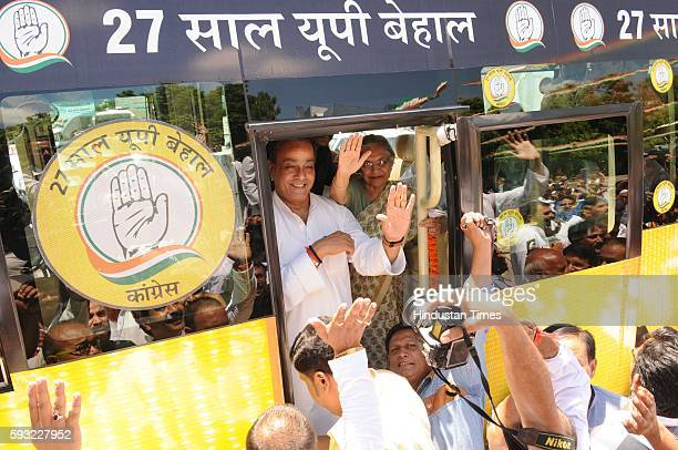 Congress UP CM candidate Sheila Dikshit and campaign committee Chairman Sanjay Singh at the launch of the second phase of campaigning '27 Saal UP...