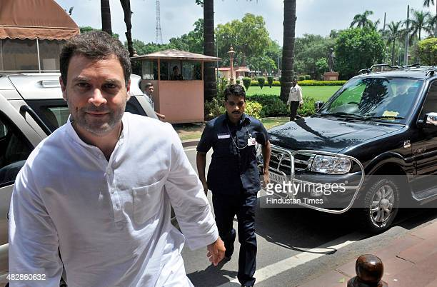 Congress Vice President and leader Rahul Gandhi arrives to attend the ongoing Monsoon Session at the Parliament House on August 3 2015 in New Delhi...