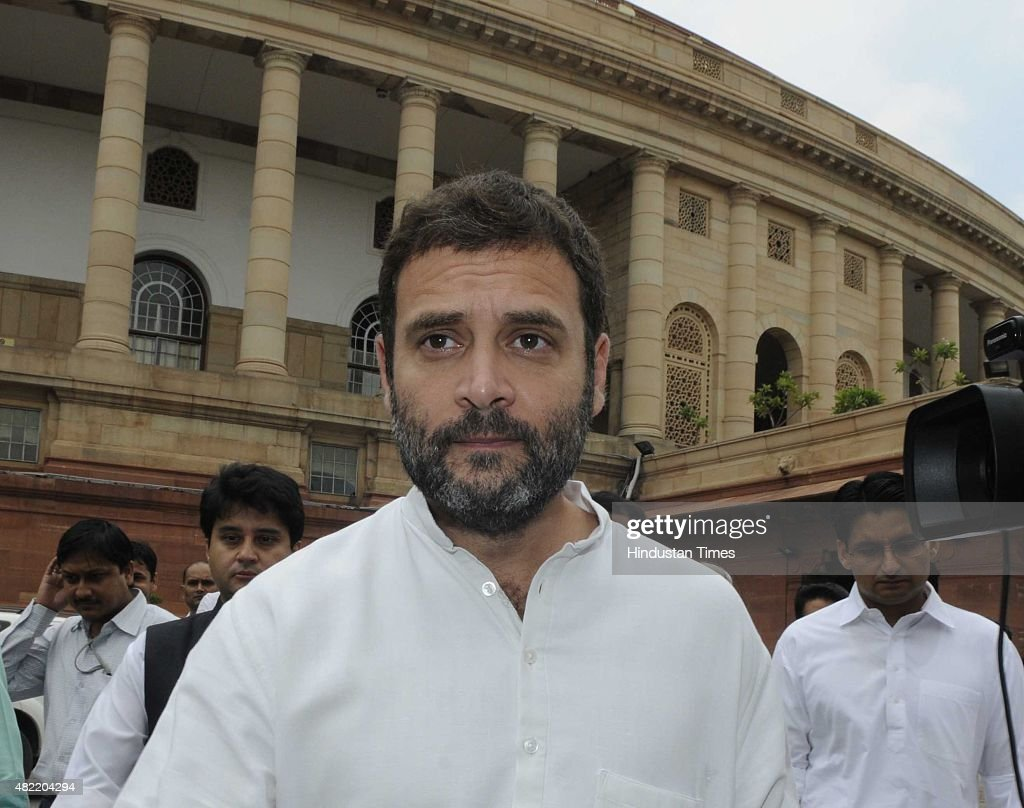 Congress Vice President and Lok Sabha Member of Parliament, Rahul Gandhi and other party MPs leave after expressing their condolences at the demise of former President of Indian, APJ Abdul Kalam during the ongoing Monsoon Session at the Parliament House, on July 28, 2015 in New Delhi, India. As a mark of respect to the departed former President A.P.J. Abdul Kalam, members of both Houses stood in silence before the proceedings were adjourned for the day. Both Houses were adjourned till July 30.