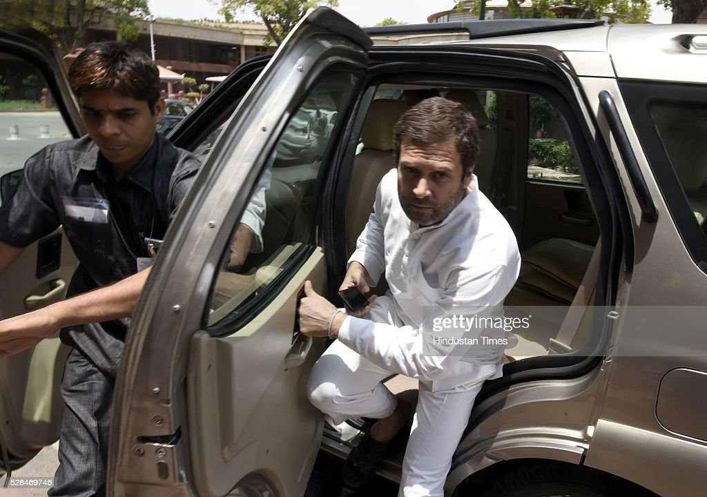 Congress vice president and Lok Sabha MP Rahul Gandhi arrives for the Parliament Session at Parliament house on May 5, 2016 in New Delhi, India. The Lok Sabha has passed the Insolvency and Bankruptcy code 2016 with all the amendments proposed by the joint committee of Parliament being accepted by the government.