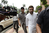 Congress Vice President and Lok Sabha MP Rahul Gandhi arrives to address the media at Parliament House on the opening day of the Monsoon Session on...