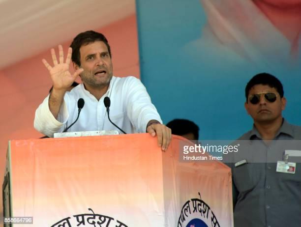 Congress Vice President Rahul Gandhi addresses during the 'Vikas se Vijay Ki Aur' rally in Mandi of electionbound Himachal Pradesh at Paddal ground...