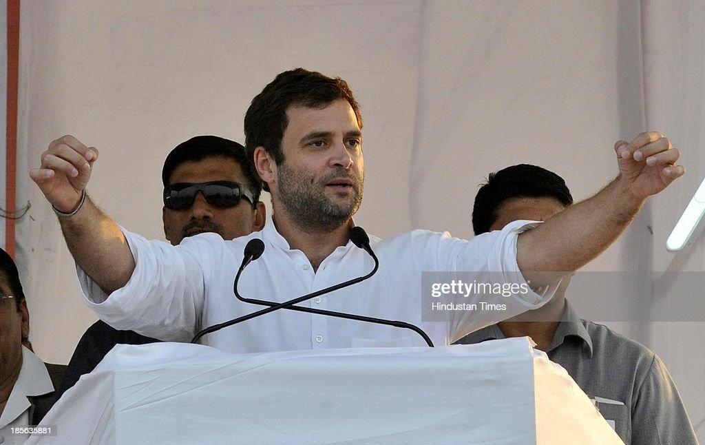 Congress Vice President Rahul Gandhi addressing a rally at Kherli on October 23 2013 in Alwar India Addressing a rally in the pollbound Rajasthan...