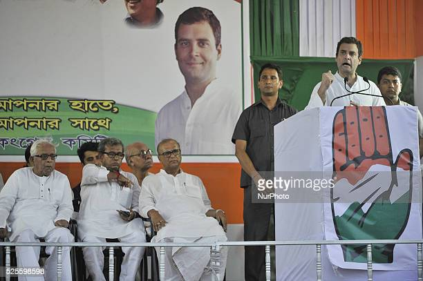 Congress Vice President Rahul Gandhi addressing and CPI veteran and former Chief Minister Buddhadeb Bhattacharjee during a joint election rally at...