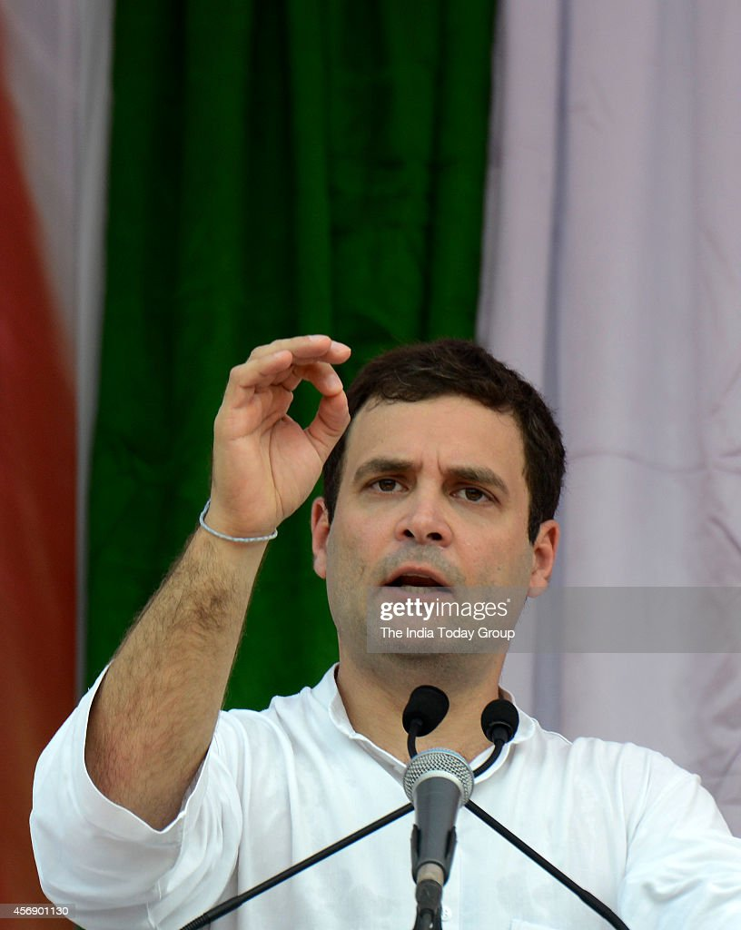 Congress vice president <a gi-track='captionPersonalityLinkClicked' href=/galleries/search?phrase=Rahul+Gandhi&family=editorial&specificpeople=171802 ng-click='$event.stopPropagation()'>Rahul Gandhi</a> addressing the election campaign rally in Mahad, Maharashtra.