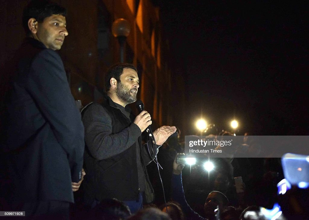 Congress Vice President Rahul Gandhi addressing the ongoing protest of JNU students over the release of JNU Student's Union president Kanhaiya Kumar at Jawaharlal Nehru University, on February 13, 2016 in New Delhi, India. Gandhi slammed the Centre and said it is terrified of people who are raising their voices. He said, the most anti-national people are the people who are suppressing the voice of this institution. JNU Student's Union president Kanhaiya Kumar was arrested in connection with a case of sedition, seven more students from the university have been detained after a controversial event to protest the hanging of 2001 Parliament attack convict Afzal Guru three years ago. The protesters also allegedly shouted anti-India slogans during the event.