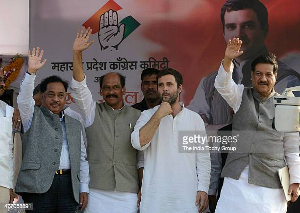 Congress vice president Rahul Gandhi along with Maharashtra Industries Minister Narayan Rane and CM Prithviraj Chavan in Bhiwandi in Thane district...