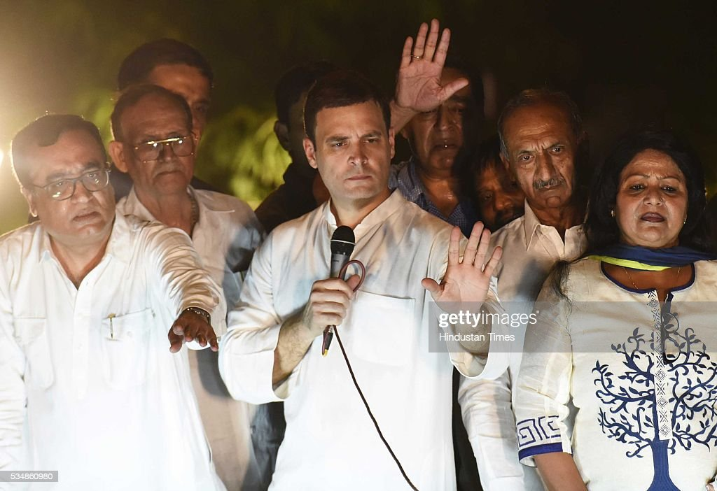 Congress vice president Rahul Gandhi along with party leaders Ajay Maken and others during a 'Mashal Juloos' rally protest against Arvind Kejriwal-led Aam Aadmi Party (AAP) government over the ongoing power and water crisis in the national capital, organized by Delhi Pradesh Congress Committee started from Samta Sthal to Players Building, on May 28, 2016 in New Delhi, India. Rahul Gandhi said, 'For India to progress, governments need to stop making false & unrealistic promises and instead work to help the people.'