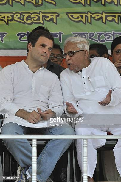 Congress Vice President Rahul Gandhi and CPI veteran and former Chief Minister Buddhadeb Bhattacharjee during a joint election rally at Park Circus...