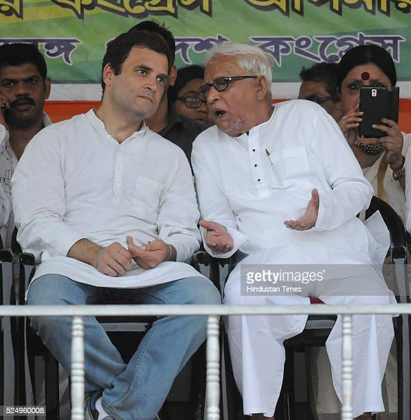 Congress Vice President Rahul Gandhi and CPM veteran and former CM Buddhadeb Bhattacharjee during a joint election rally at Park Circus Maidan on...