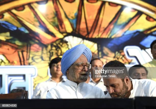 Congress Vice President Rahul Gandhi and former Prime Minister Manmohan Singh seen during 'Sajhi Birasat Bachao Sammelan' called by JD leader Sharad...