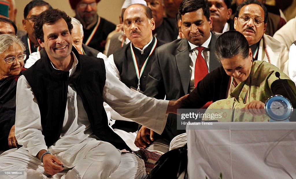 Congress Vice President Rahul Gandhi and his mother and congress President Sonia Gandhi during the AICC meeting after the two days 'Chintan Shivir' at Birla Auditorium, Jaipur on January 20, 2013 in Rajasthan, India.