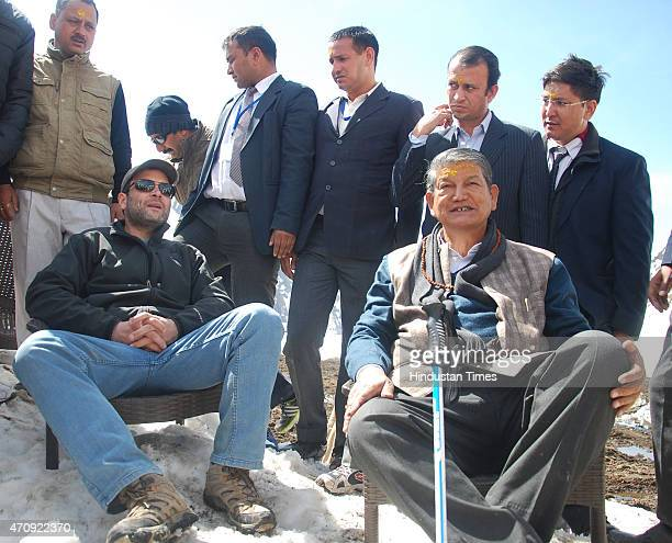Congress Vice President Rahul Gandhi and Uttarakhand Chief Minister Harish Rawat addressing media at Kedarnath shrine on April 24 2015 at Kedarnath...